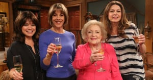 """STUDIO CITY, CA - MARCH 26:  (L-R) Actresses Valerie Bertinelli, Wendie Malick, Betty White and Jane Leeves pose onstage during """"Hot in Cleveland"""" LIVE! at the CBS Studio Center on March 26, 2014 in Studio City, California.  (Photo by Jesse Grant/Getty Images for TV Land)"""