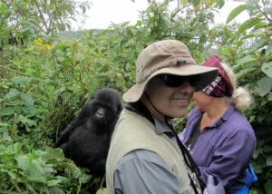 Robin and I on a close gorilla encounter - the gorilla moved toward us. And NO we did not feel threatened