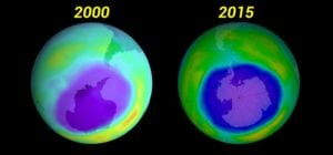 Ozone holes are still there, but appear to be healing