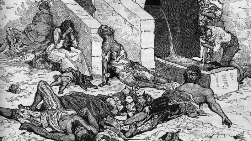 HISTOIRE ABRÉGÉE DE L'ÉGLISE - PAR M. LHOMOND – France - année 1818 (avec images et cartes) Black-Death-e1446625539990