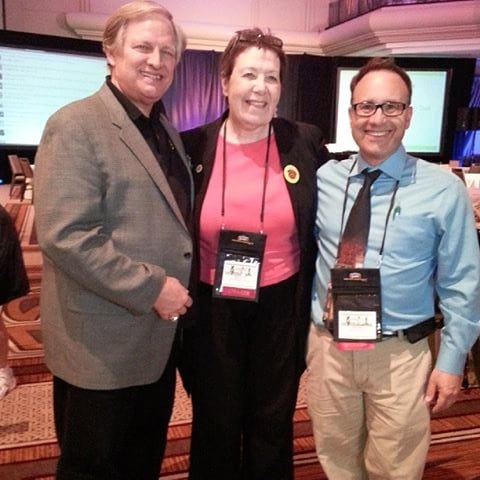 myself and longtime Westminster and dog show announcer David Frei at BlogPaws with Darlene in 2014