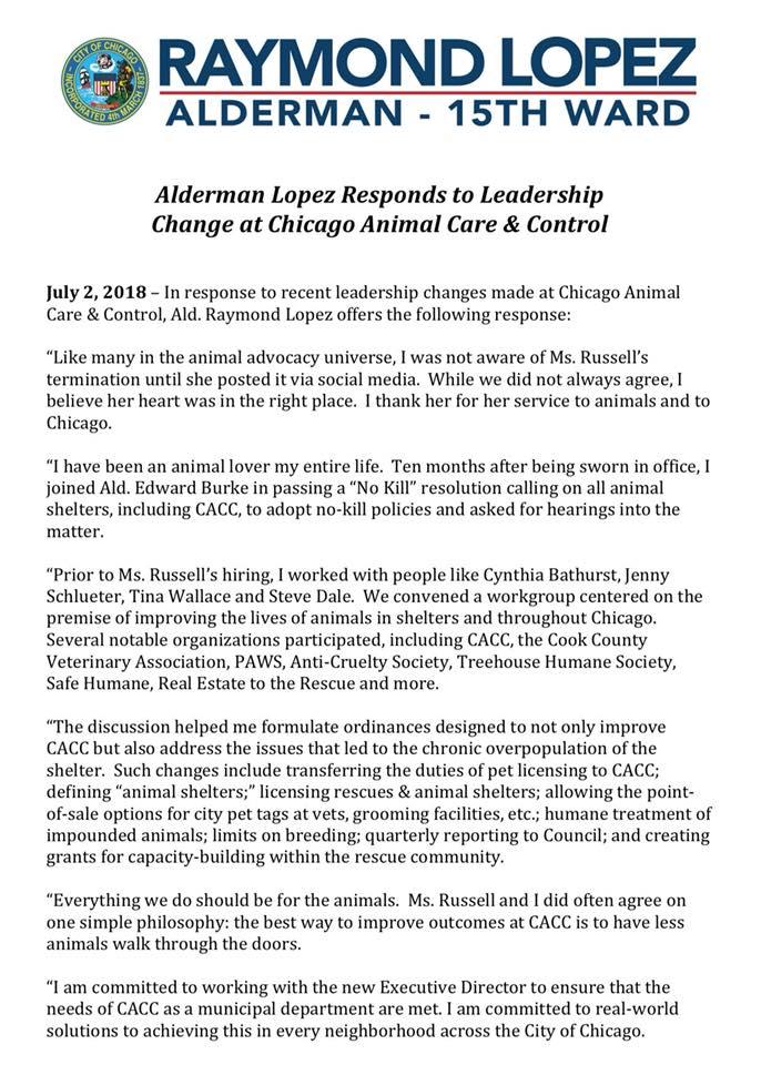 Alderman Raymond Lopez issue this statement